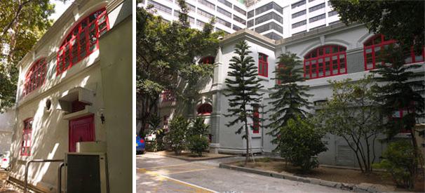 东华三院文物馆的后门外墙富西式建筑特色