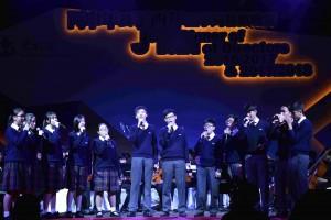 图五:东华三院属校学生的音乐表演,为晚宴加添活力动感。