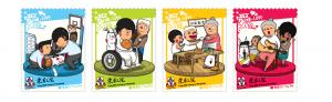 东华三院主席李鋈麟博士太平绅士(左)与本地插画师Hello Wong先生合照。Hello Wong为今年的东华三院卖旗日设计精美邮票型纸旗及限量纪念礼品。